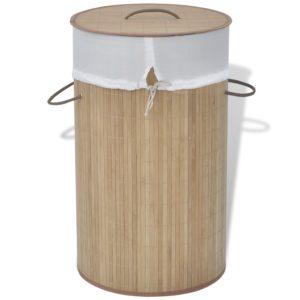 Bambus-Wäschekorb Rund Natur