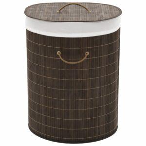 Bambus-Wäschekorb Oval Dunkelbraun