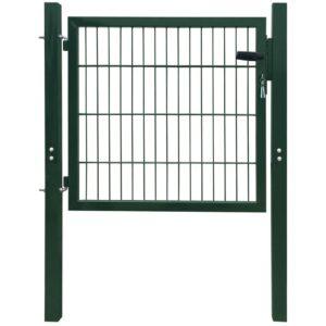 Zauntor Stahl Grün 103×150 cm