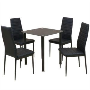 5-tlg. Essgruppe Esstisch mit Stühlen Schwarz