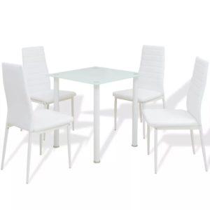 5-tlg. Essgruppe Esstisch mit Stühlen Weiß