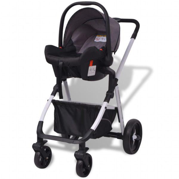 3-in-1 Kinderwagen Aluminium Grau und Schwarz