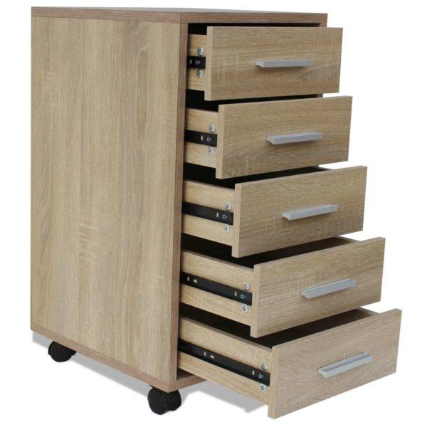 Büroschubladenschrank auf Rollen 5 Schubladen Eiche