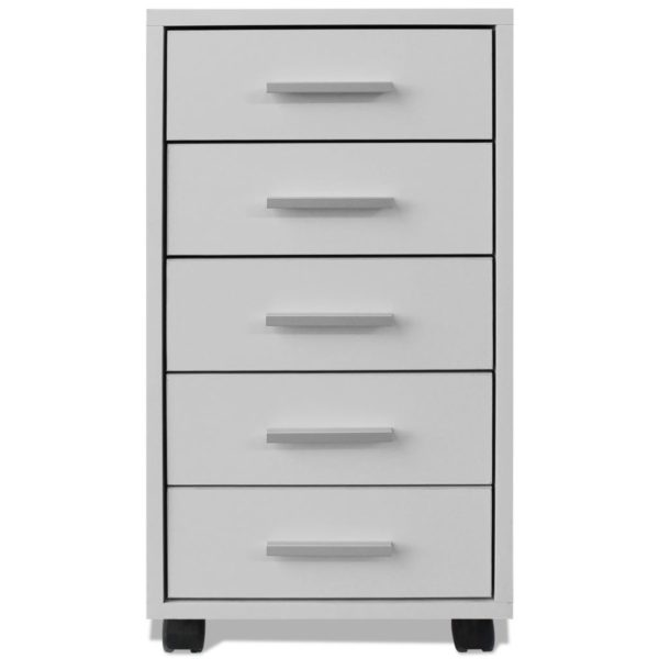 Büroschubladenschrank auf Rollen 5 Schubladen weiß