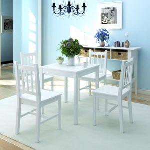 Fünfteiliges Esstisch-Set Pinienholz Weiß