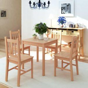 Fünfteiliges Esstisch-Set Pinienholz