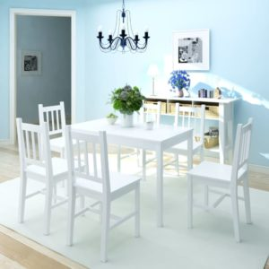 Siebenteiliges Esstisch-Set Pinienholz Weiß