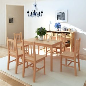 Siebenteiliges Esstisch-Set Pinienholz