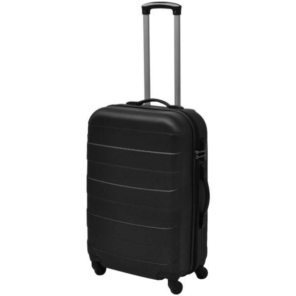 3-tlg. Hartschalen-Reisekoffer-Set Trolley Schwarz