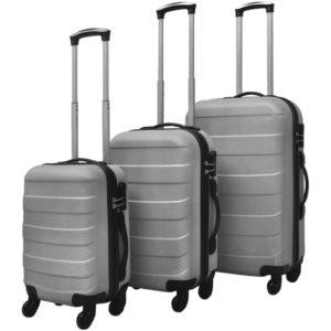 3-tlg. Hartschalen-Reisekoffer-Set Trolley Silber