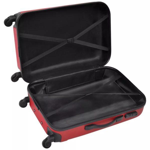 3-tlg. Hartschalen-Reisekoffer-Set Trolley Rot
