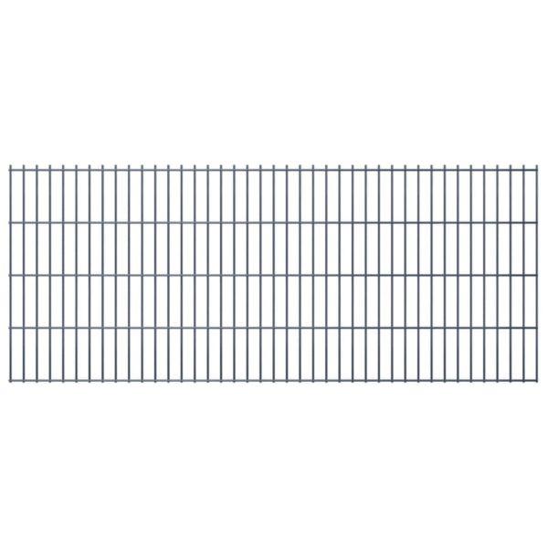 Doppelstabmattenzaun Gartenzaun & Pfosten 2008×830 mm 12 m Grau