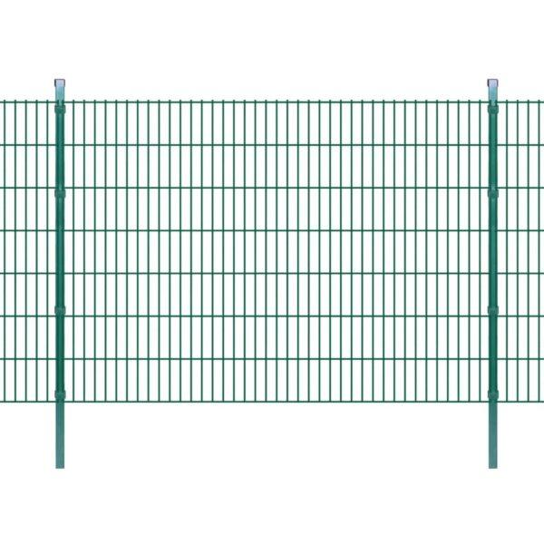 Doppelstabmattenzaun Gartenzaun & Pfosten 2008×1430 mm 12 m Grün