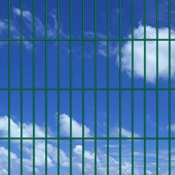Doppelstabmattenzaun Gartenzaun & Pfosten 2008×1430 mm 16 m Grün