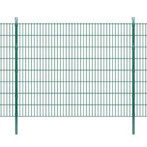Doppelstabmattenzaun Gartenzaun & Pfosten 2008×1630 mm 38m Grün