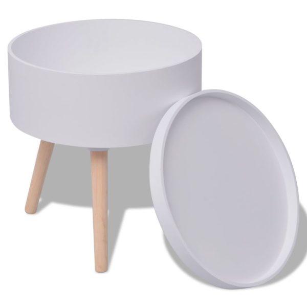 Beistelltisch mit Serviertablett rund 39,5×44,5 cm weiß