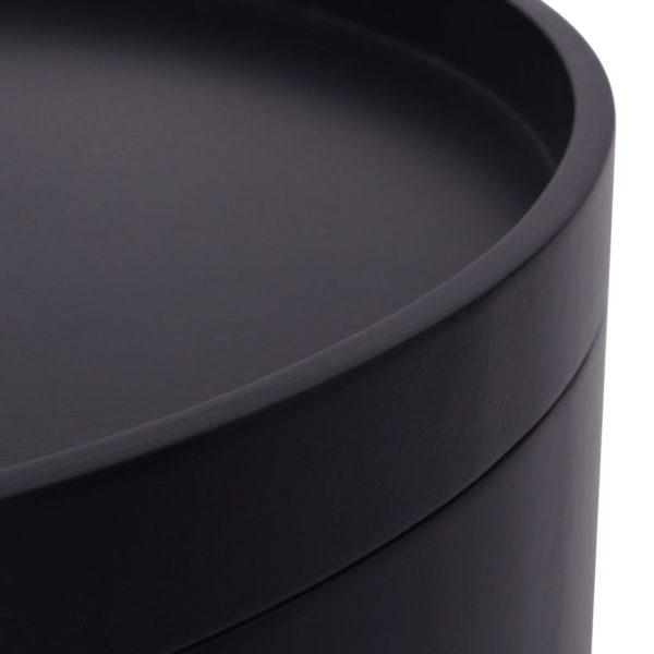 Beistelltisch mit Serviertablett rund 39,5×44,5 cm schwarz