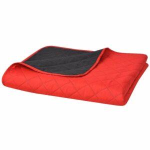 Zweiseitige Steppdecke Tagesdecke Rot/Schwarz 230x260cm