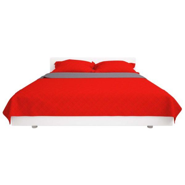 Zweiseitige Steppdecke Tagesdecke Rot/Grau 220x240cm