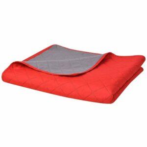 Zweiseitige Steppdecke Tagesdecke Rot/Grau 230×260 cm