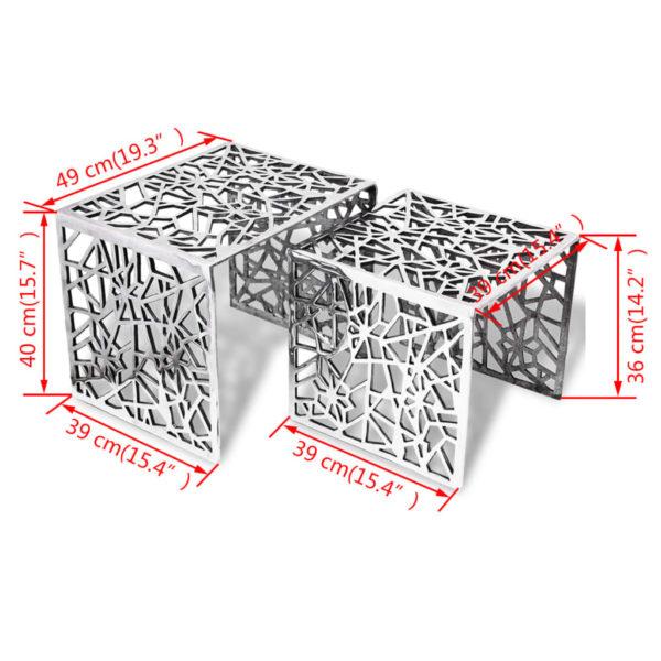 Beistelltische 2 Stk. Quadratisch Silbern Aluminium