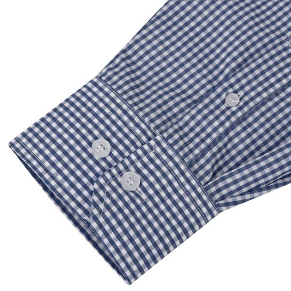Herren Business-Hemd weiß und marineblau kariert Gr. XXL