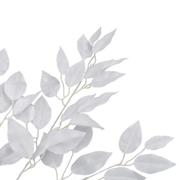 Künstliche Blätter Ficus 10 Stk. Weiß 65 cm
