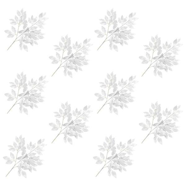 Künstliche Blätter Ficus 10 Stk. Silbern 65 cm