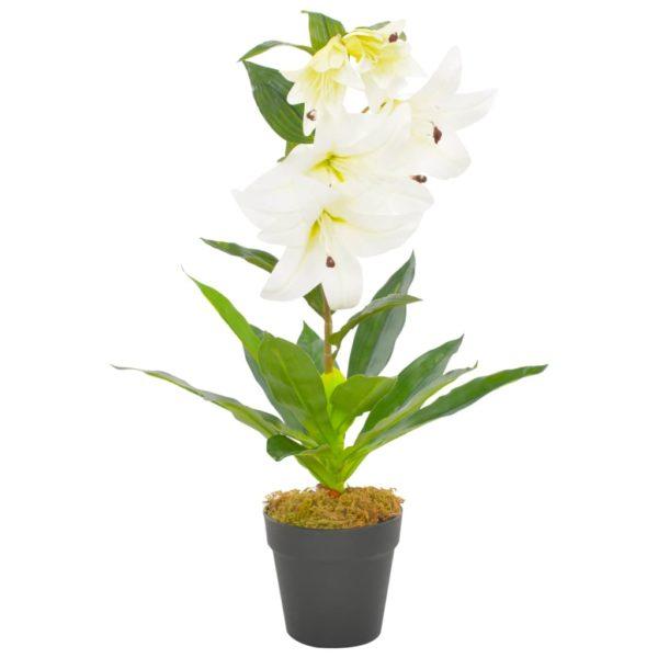 Künstliche Lilie mit Topf Weiß 65 cm