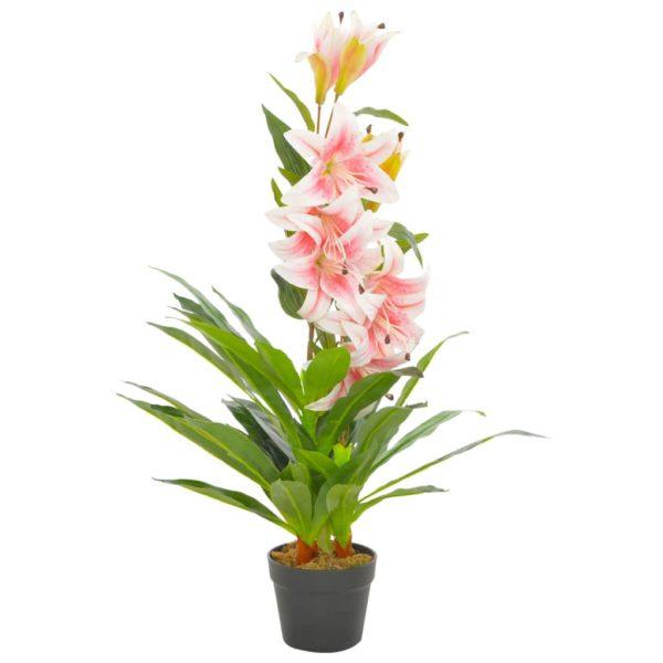 Künstliche Lilie mit Topf Rosa 90 cm