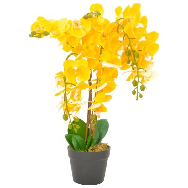 Künstliche Orchidee mit Topf Gelb 60 cm