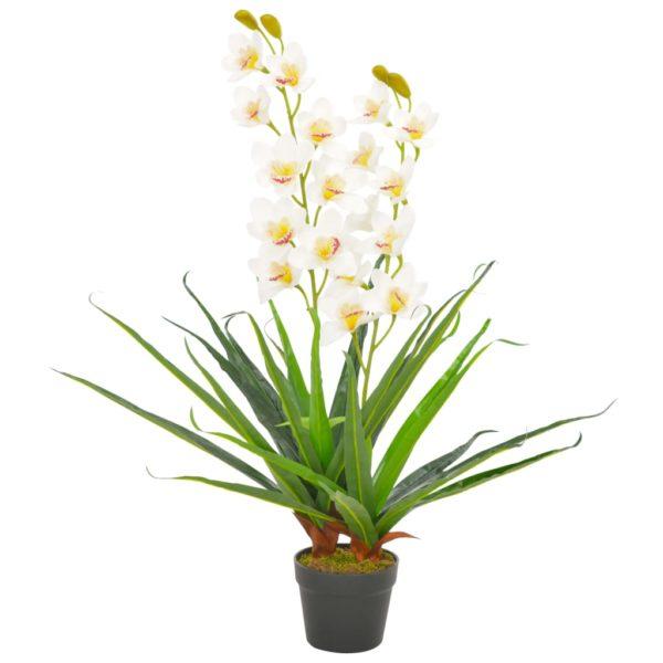 Künstliche Orchidee mit Topf Weiß 90 cm