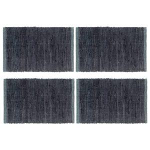 Tischsets 4 Stk. Chindi Uni Anthrazit 30 x 45 cm Baumwolle