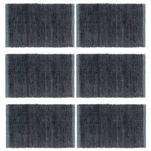Tischsets 6 Stk. Chindi Uni Anthrazit 30 x 45 cm Baumwolle