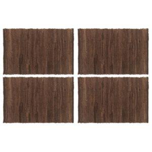 Tischsets 4 Stk. Chindi Uni Braun 30 x 45 cm Baumwolle