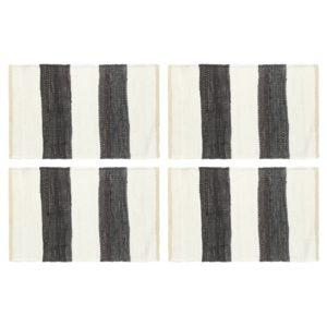 Tischsets 4 Stk. Chindi Gestreift Anthrazit und Weiß 30 x 45 cm