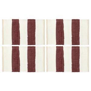 Tischsets 4 Stk. Chindi Gestreift Weinrot und Weiß 30 x 45 cm