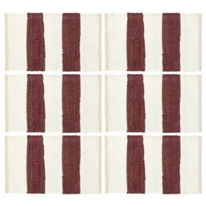Tischsets 6 Stk. Chindi Gestreift Weinrot und Weiß 30 x 45 cm