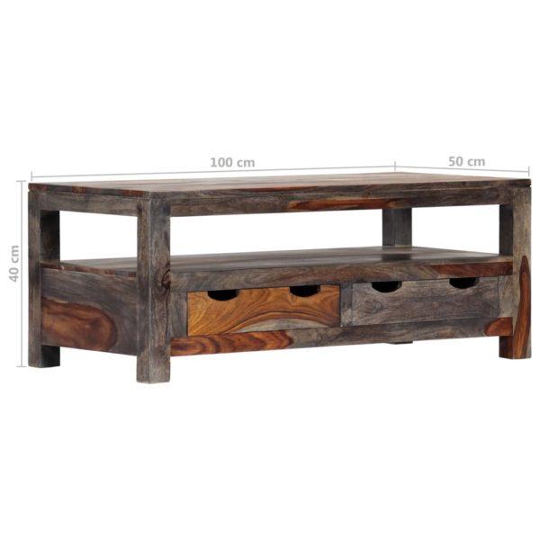 Couchtisch Grau 100×50×40 cm Massivholz