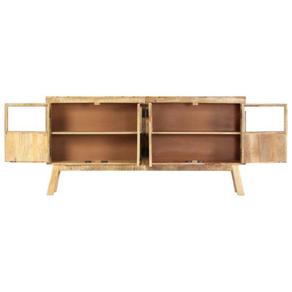 Sideboard Braun und Schwarz 160×30×80 cm Raues Mango-Massivholz