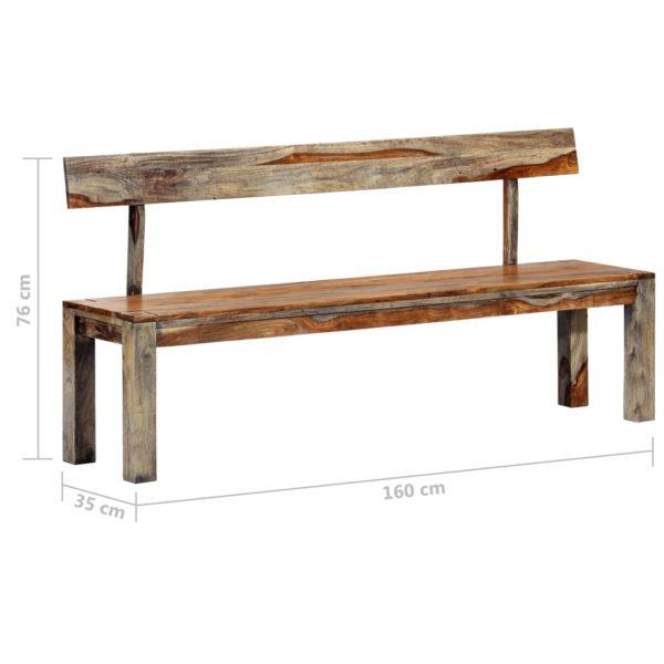 Sitzbank 160 cm Grau Massivholz