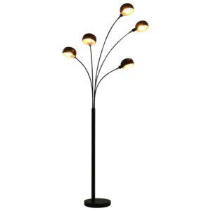 Stehlampe 200 cm 5 x E14 Schwarz und Golden