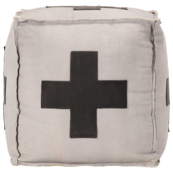 Pouf Grau 40 x 40 x 40 cm Baumwoll-Leinwand und Leder