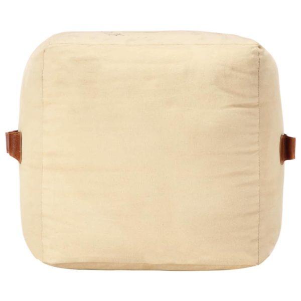 Pouf Sandfarben 40 x 40 x 40 cm Baumwoll-Canvas und Leder