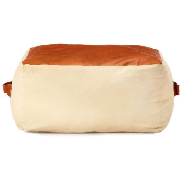 Pouf Sandfarben 60 x 60 x 30 cm Baumwoll-Canvas und Leder