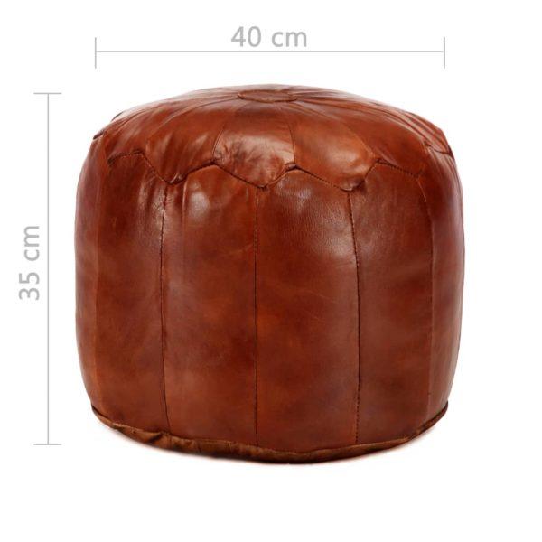 Pouf Hellbraun 40 x 35 cm Echtes Ziegenleder