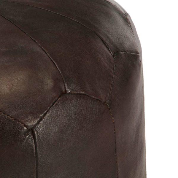 Pouf Dunkelbraun 40 x 35 cm Echtes Ziegenleder