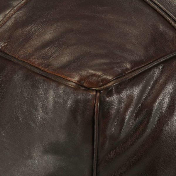 Pouf Dunkelbraun 60 x 60 x 30 cm Echtes Ziegenleder