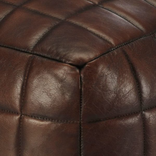 Pouf Dunkelbraun 40 x 40 x 40 cm Echtes Ziegenleder