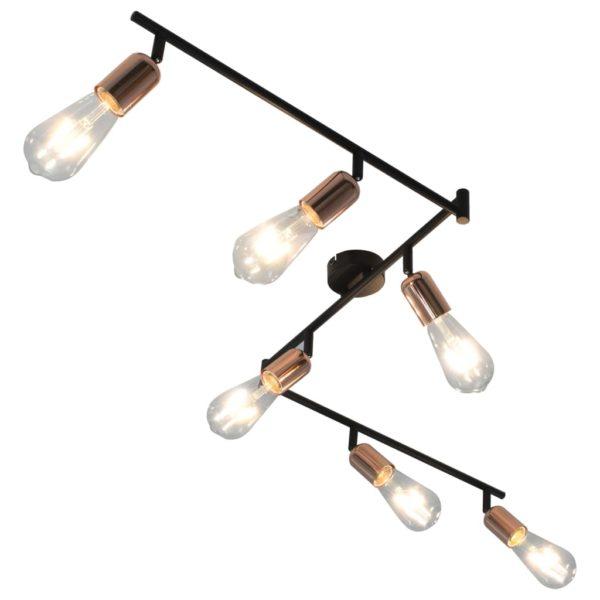 6-Wege Strahler mit Glühlampen 2 W Schwarz und Kupfer 30 cm E27